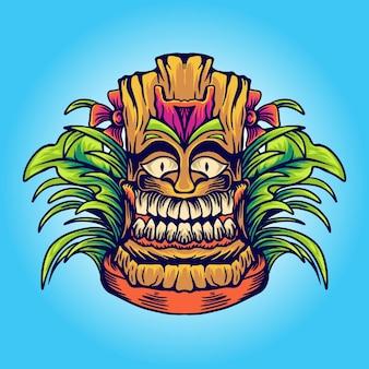 Ilustracja maski hawajskiej tiki