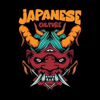 Ilustracja maski oni i miecza na koszulkę z japońskimi literami kultury