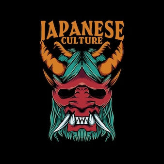 Ilustracja maski oni na koszulkę z napisem kultury japońskiej