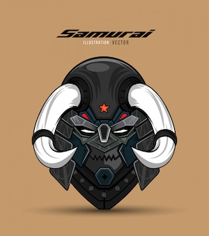 Ilustracja maski samuraja