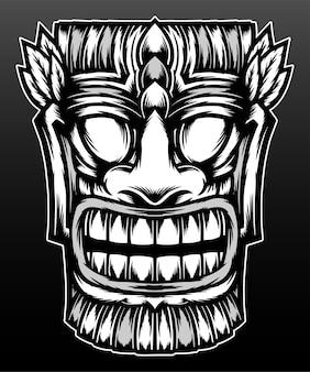 Ilustracja maski tiki na czarnym tle