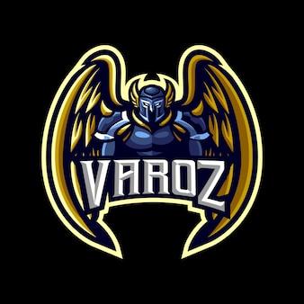 Ilustracja maskotka anioł stróż dla sportu i e-sportu logo na białym na czarnym tle