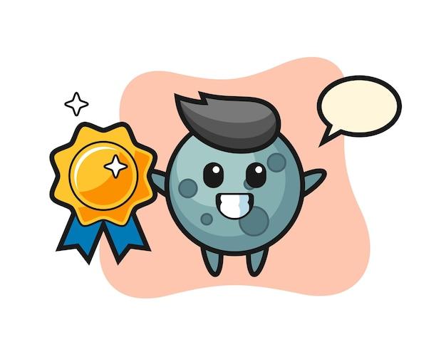 Ilustracja maskotka asteroidy trzymająca złotą odznakę, ładny styl na koszulkę, naklejkę, element logo
