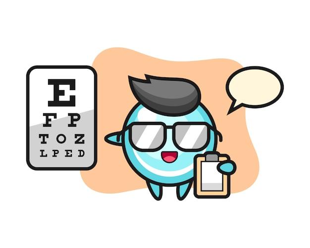 Ilustracja maskotka bąbelkowa jako okulistyka, ładny styl