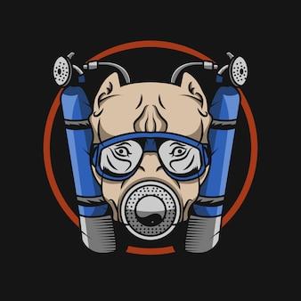 Ilustracja maskotka buldog nurkowy
