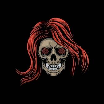 Ilustracja maskotka czaszki głowy kobiet
