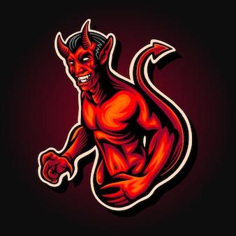 Ilustracja maskotka czerwony demon