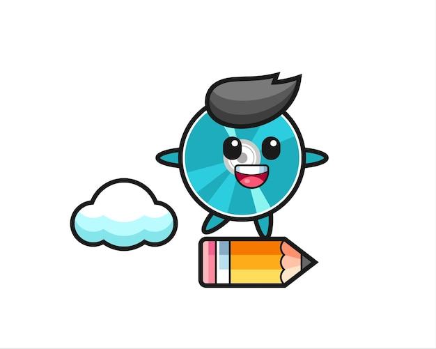 Ilustracja maskotka dysku optycznego jeżdżąca na gigantycznym ołówku, ładny styl na koszulkę, naklejkę, element logo