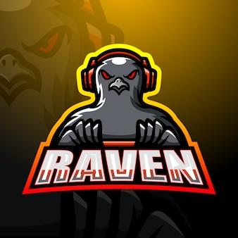 Ilustracja maskotka e-sport gracza gry raven
