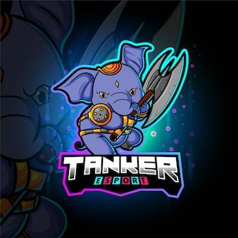 Ilustracja maskotka e-sportowego słonia tankowca