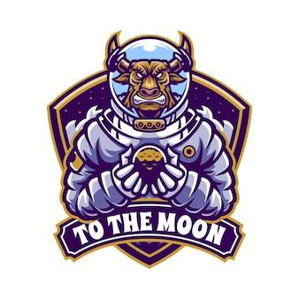 Ilustracja maskotka e-sportu astronauta byka