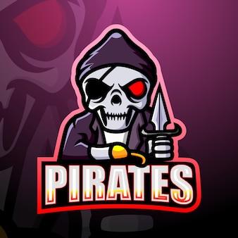 Ilustracja maskotka esport czaszki pirata