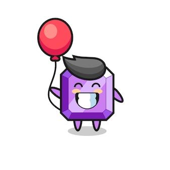 Ilustracja maskotka fioletowy kamień szlachetny bawi się balonem, ładny styl na koszulkę, naklejkę, element logo