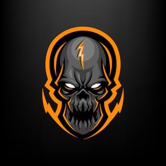 Ilustracja maskotka głowa czaszki dla sportu i e-sportu logo na białym na czarnym tle