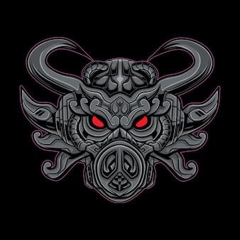 Ilustracja maskotka głowa mecha sowa.