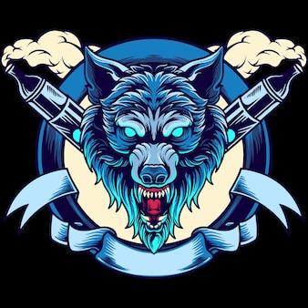 Ilustracja maskotka głowa wilka vape