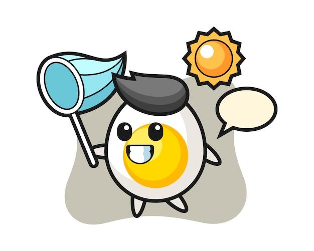 Ilustracja maskotka gotowane jajko łapie motyla