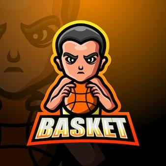 Ilustracja maskotka gracz koszykówki