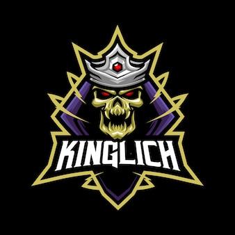Ilustracja maskotka króla diabła dla sportu i e-sportu logo na białym tle na ciemnoszarym tle