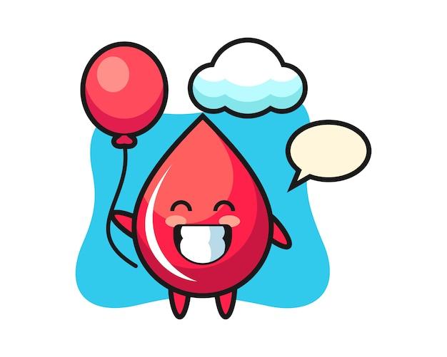 Ilustracja maskotka kropla krwi bawi się balonem, ładny styl, naklejka, element logo