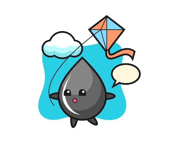 Ilustracja maskotka kropla oleju bawi się latawcem