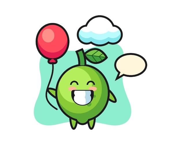 Ilustracja maskotka limonka bawi się balonem, ładny styl, naklejka, element logo