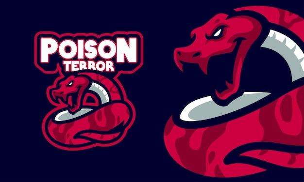 Ilustracja maskotka logo czerwonego grzechotnika sportowego