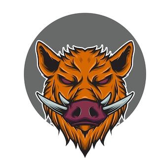 Ilustracja maskotka logo głowa dzika