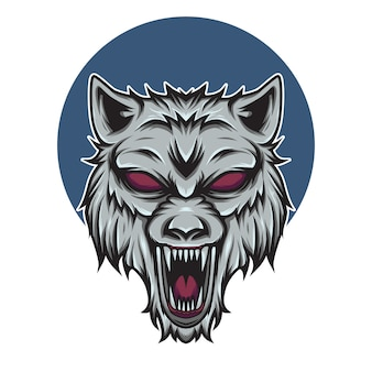 Ilustracja maskotka logo głowa wilka
