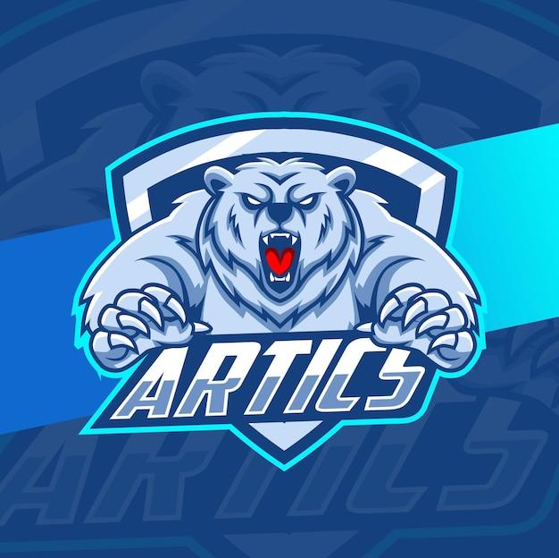 Ilustracja maskotka niedźwiedź polarny do projektowania e-sportu
