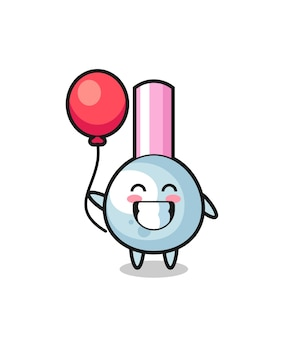 Ilustracja maskotka pączek bawełny gra balon, ładny styl na koszulkę, naklejkę, element logo