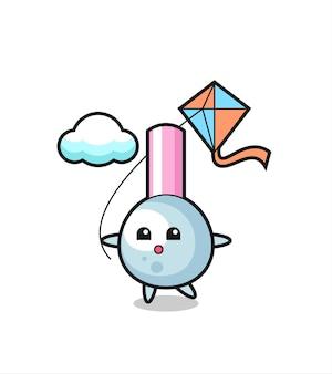 Ilustracja maskotka pączek bawełny gra latawiec, ładny styl na koszulkę, naklejkę, element logo