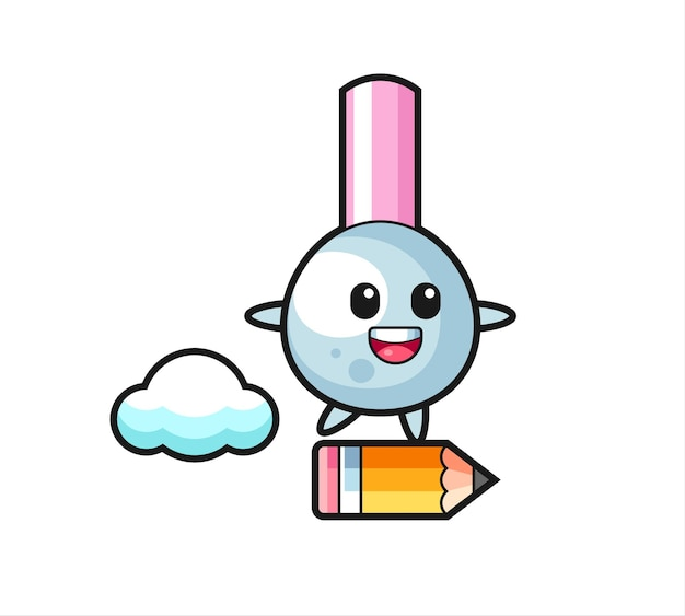 Ilustracja maskotka pączka bawełny jeżdżąca na gigantycznym ołówku, ładny styl na koszulkę, naklejkę, element logo