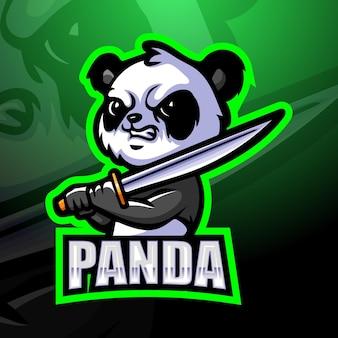 Ilustracja maskotka panda samuraj