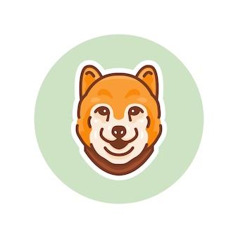 Ilustracja maskotka psa shiba inu, idealna na logo lub maskotkę