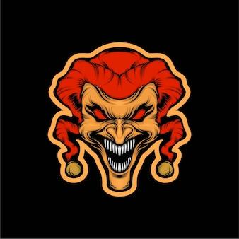 Ilustracja maskotka szalonego klauna głowy