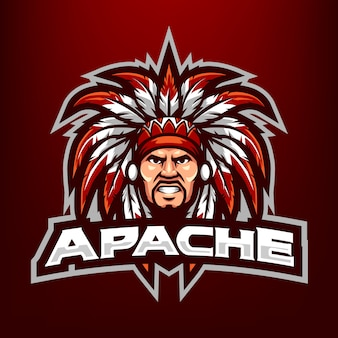 Ilustracja maskotka szef apache head dla sportu i e-sportu logo na białym tle na ciemnym czerwonym tle