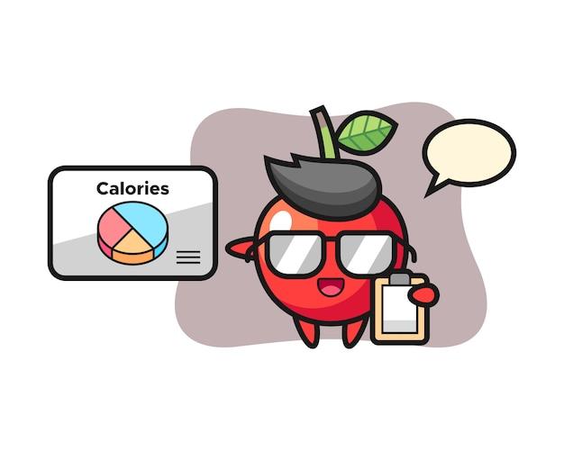 Ilustracja maskotka wiśni jako dietetyk, ładny styl
