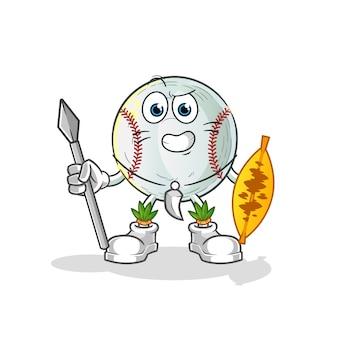 Ilustracja maskotka wojownika plemiennego baseballu