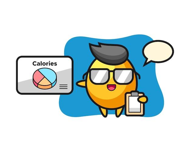 Ilustracja maskotka złote jajko jako dietetyk, ładny styl