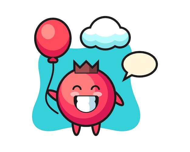 Ilustracja maskotka żurawinowa bawi się balonem, ładny styl, naklejka, element logo