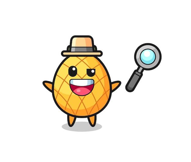 Ilustracja maskotki ananasa jako detektywa, któremu udaje się rozwiązać sprawę, ładny styl na koszulkę, naklejkę, element logo