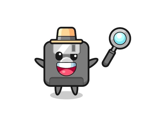 Ilustracja maskotki dyskietki jako detektywa, któremu udaje się rozwiązać sprawę, ładny styl na koszulkę, naklejkę, element logo