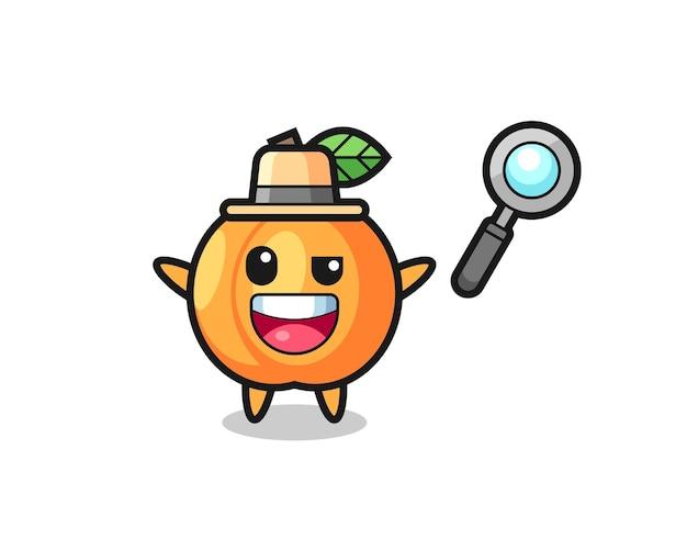 Ilustracja maskotki morelowej jako detektywa, któremu udaje się rozwiązać sprawę, ładny styl na koszulkę, naklejkę, element logo