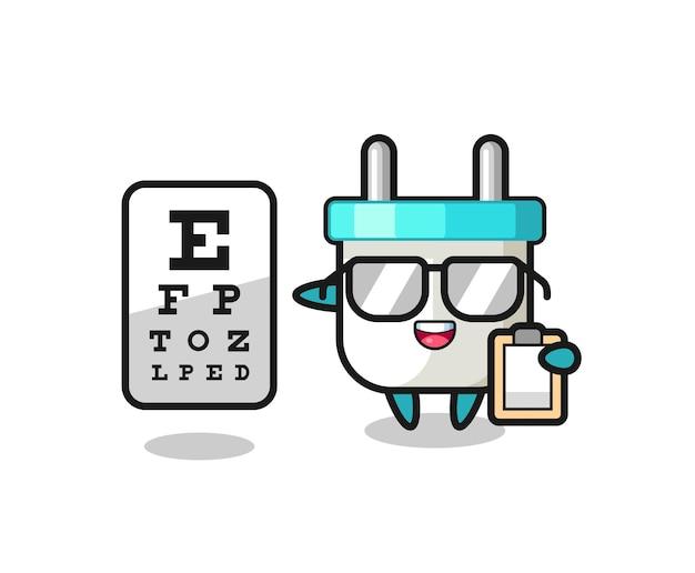 Ilustracja maskotki wtyczki elektrycznej jako okulisty
