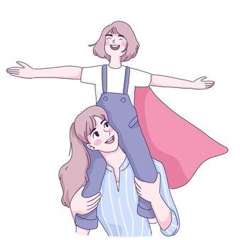 Ilustracja matki i córki