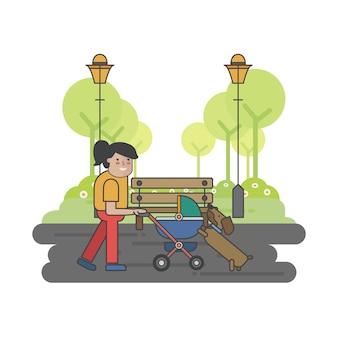Ilustracja matki i psa