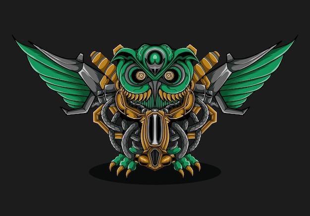 Ilustracja mecha myśliwca zielonej sowy
