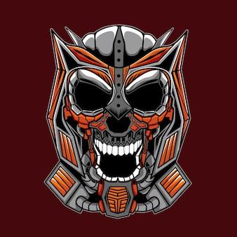 Ilustracja mecha skull