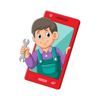 Ilustracja mechanika trzymającego szczypce wyszła z czerwonego mobilnego smartfona